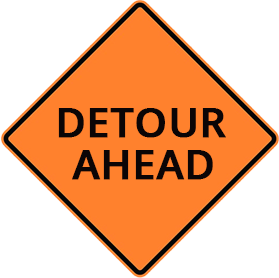 Orange construction sight with the text 'Detour Ahead'