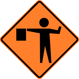 Orange construction sight with flagging ahead