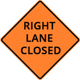 orange construction sight with right lane closed